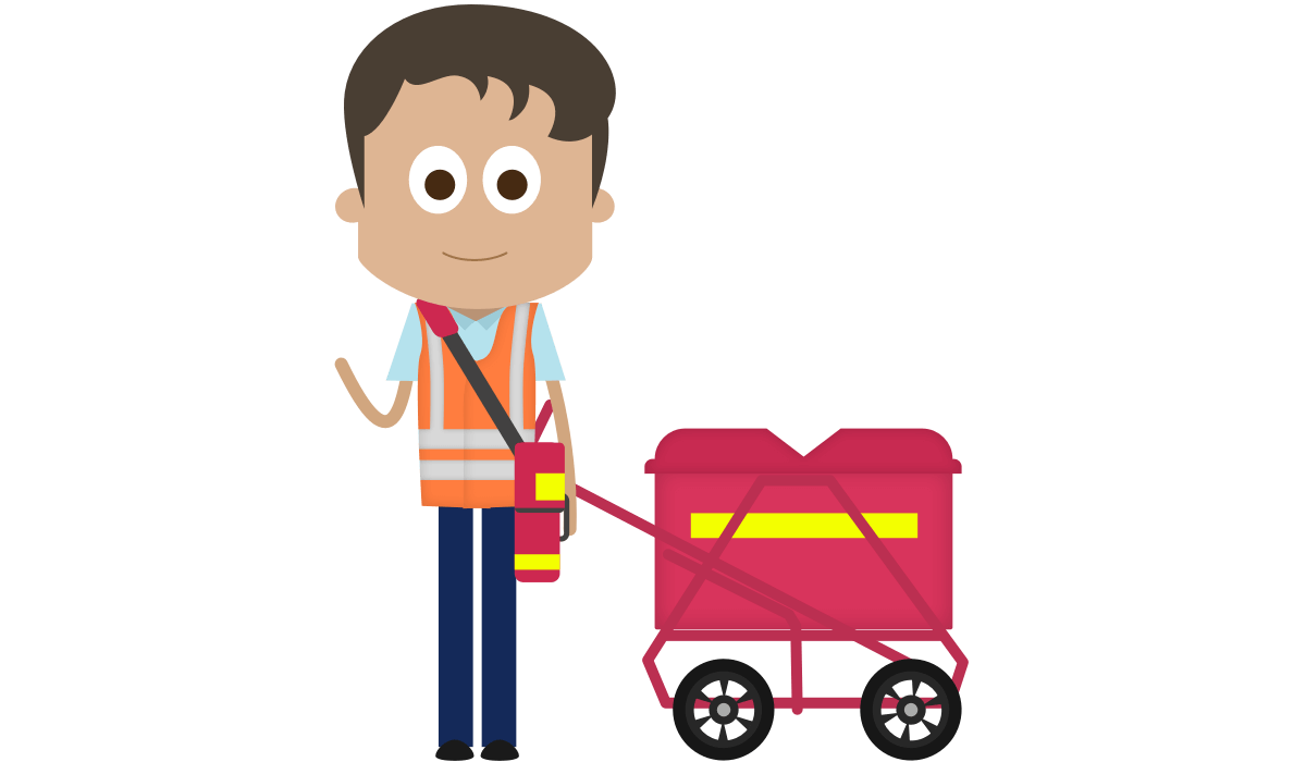 Illustration of a Royal Mail Postal Worker